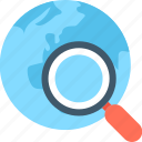 globe, international search, magnifier, magnifying glass, search location icon
