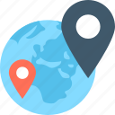 global location, globe, gps, location, map pin icon