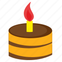 birthday, cake, fire, food, happy, sweet icon