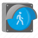blue, go, light, man, pedestrian, traffic icon
