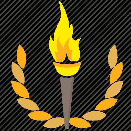 fire, laurels, light, olympic, sport icon