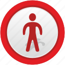 man, road, sign, stop, warning icon
