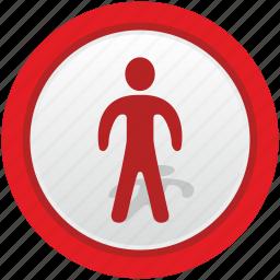 man, road, sign, stop, warning icon