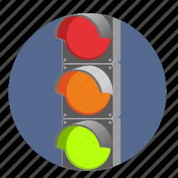 direction, go, light, night, road, traffic, way icon