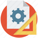 drafting equipment, draw, gear, geometry, ruler, settings, tools icon