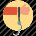 arrest, crime, cuff, handcuffs, human hand, prison, prison cuff icon