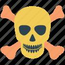 crossbones, crossing, danger, dead, death, human skull, skull