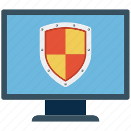 lcd, monitor, network security, pc firewall, protection shield, security, security system icon