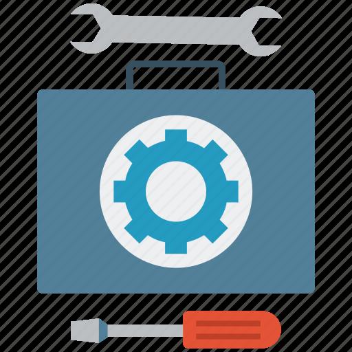 repair toolbox, screwdriver, tool box, tool kit, tools, work tools, wrench icon