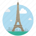 eiffel tower, famous place, france, landmark, monument, paris, tower icon