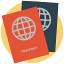 licence, pass, passport, permit, travel id, travel permit, visa icon