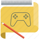 draw, drawing activity, game, game console, gamepad, plan, ruler icon