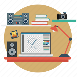 desk, desk lamp, equipment, lamp, music, musical environment, woofers icon