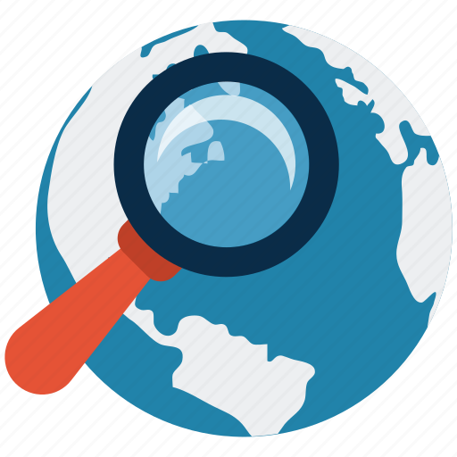 discovery, exploration, globe, ideas, magnifying glass, sphere, technology icon