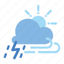cloud, forecast, night, rainy, snowy, storm, weather icon icon