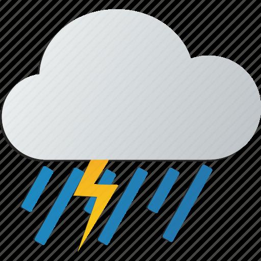 cloud, lightning, rain, storm, with icon