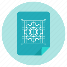 blueprint, development, document, file, gear, plan, technology icon
