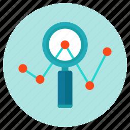 analyze, magnifier, statistics, stats, zoom icon