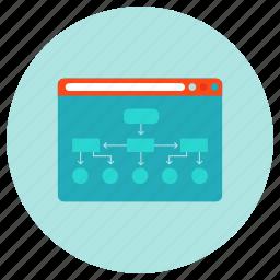 development, hierarchy, internet, navigation, scheme, sitemap, web icon