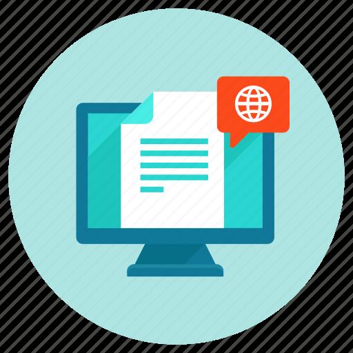 computer, internet, newsletter, notification, update, web icon