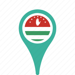 abkhazia, country, county, flag, map, national, pin icon