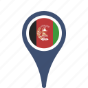 afghanistan, country, county, flag, map, national, pin icon