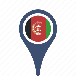 afghanistan, county, flag, map, national, pin icon