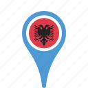 albania, county, flag, map, national, pin icon