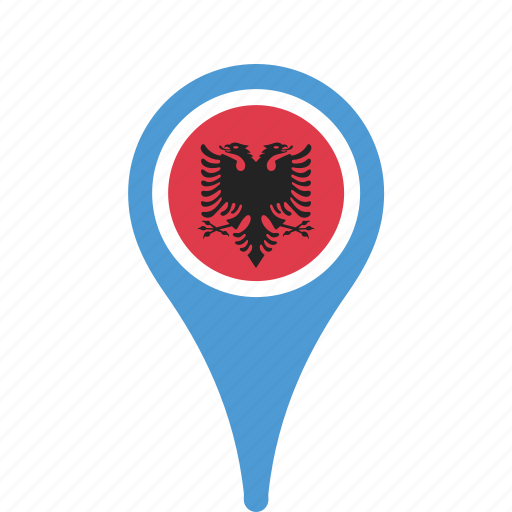 albania, country, county, flag, map, national, pin icon