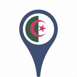 algeria, county, flag, map, national, pin icon
