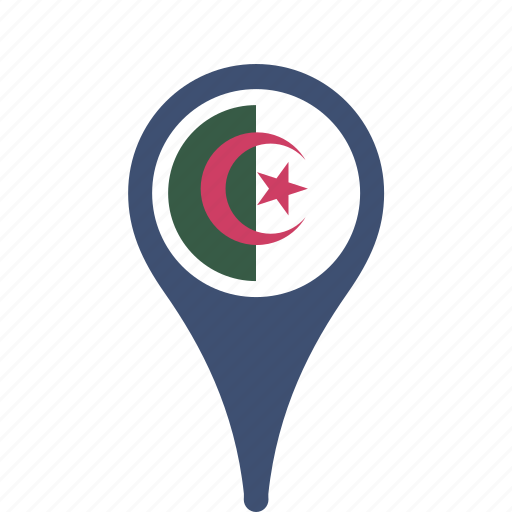 algeria, country, county, flag, map, national, pin icon