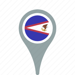 american, country, county, flag, map, national, pin, samoa icon