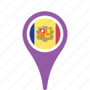andorra, country, county, flag, map, national, pin icon