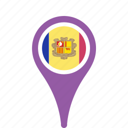 andorra, county, flag, map, national, pin icon