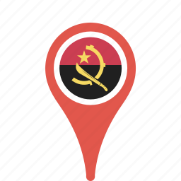 angola, country, county, flag, map, national, pin icon