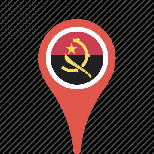 angola, county, flag, map, national, pin icon