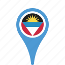 and, antigua, barbuda, county, flag, map, national, pin icon