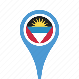 and, antigua, barbuda, country, county, flag, map, national, pin icon