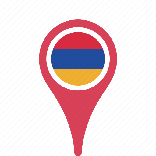 armenia, country, county, flag, map, national, pin icon
