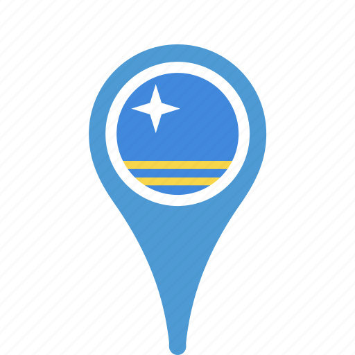 aruba, county, flag, map, national, pin icon