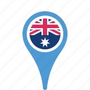 australia, county, flag, map, national, pin icon