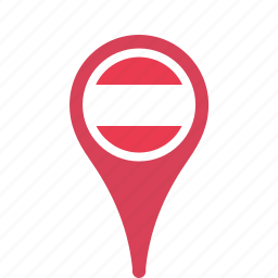 austria, country, county, flag, map, national, pin icon