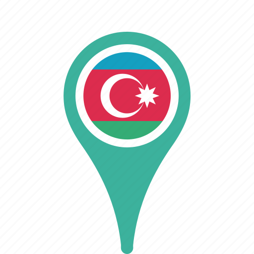 azerbaijan, county, flag, map, national, pin icon