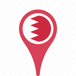 bahrain, country, county, flag, map, national, pin icon