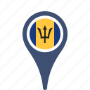 barbados, county, flag, map, national, pin icon