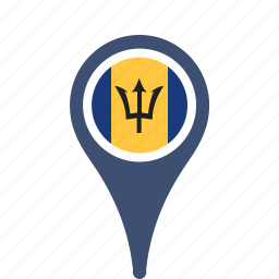 barbados, country, county, flag, map, national, pin icon