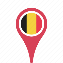 belgium, country, county, flag, map, national, pin icon