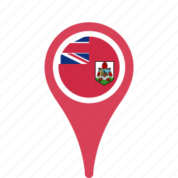 bermuda, county, flag, map, national, pin icon