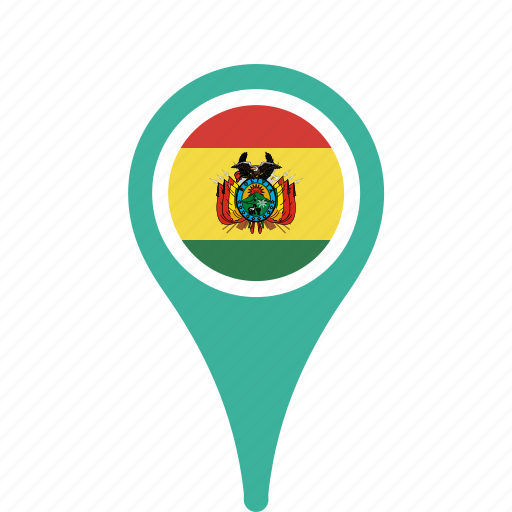 bolivia, county, flag, map, national, pin icon