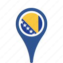 bosnia, county, flag, herzegovina, map, national, pin icon